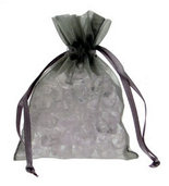 10 Silver Chiffon Favour Bags