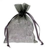 10 Silver Chiffon Favour Bags