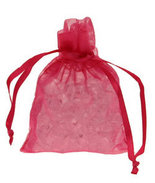 10 Hot Pink Chiffon Favour Bags