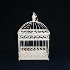 Small Rectangular Ivory Bird Cage
