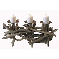 Driftwood 3 Plate Candle Holder